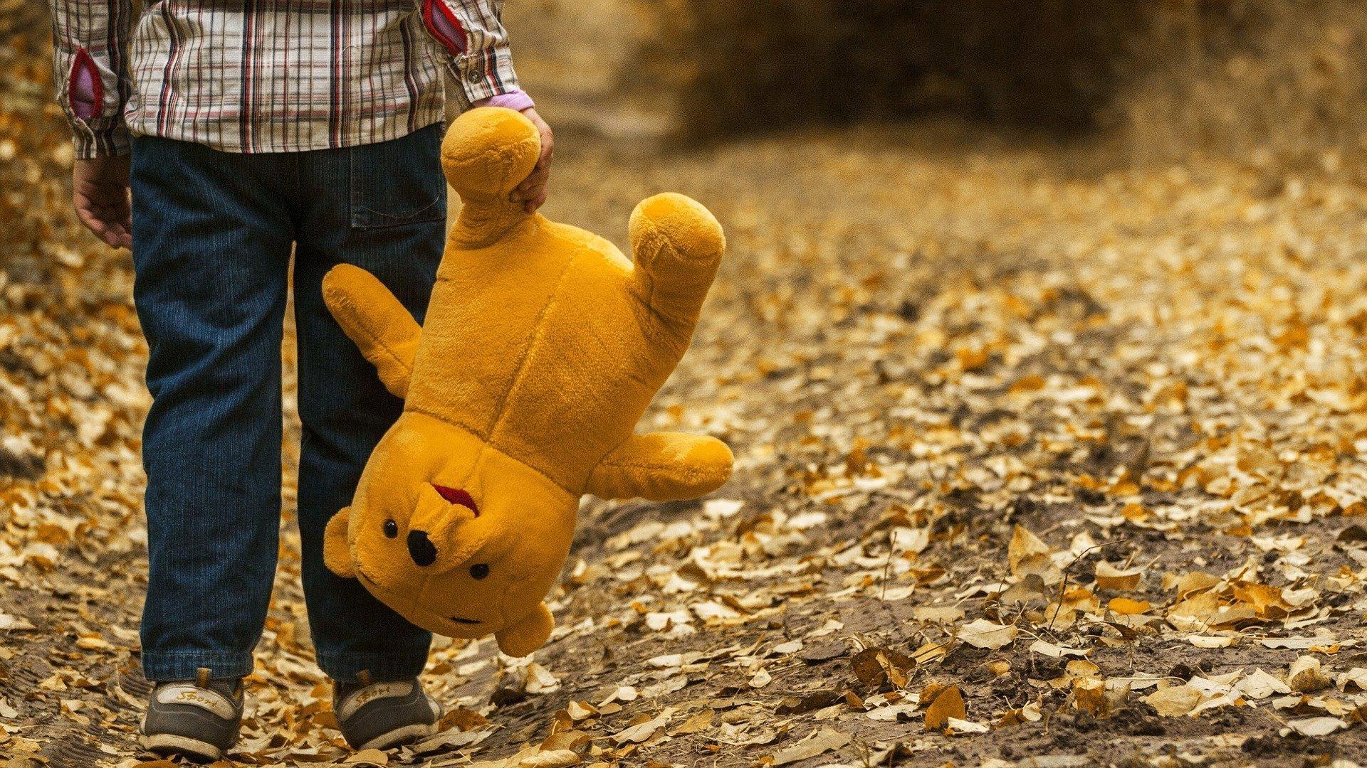 Ein kleines Kind, dessen Kopf man nicht sieht, geht mit seinem Teddy-Bär auf einem Weg, auf dem bunte Blätter liegen.