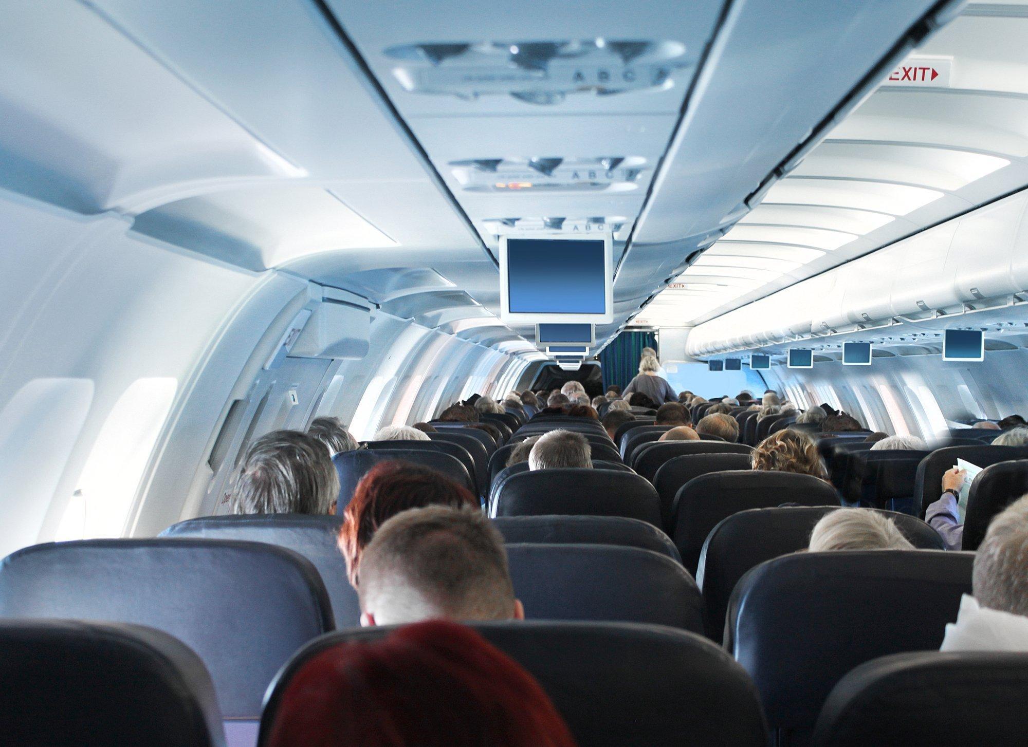 Aufnahme aus der Kabine eines Passagierflugzeugs.