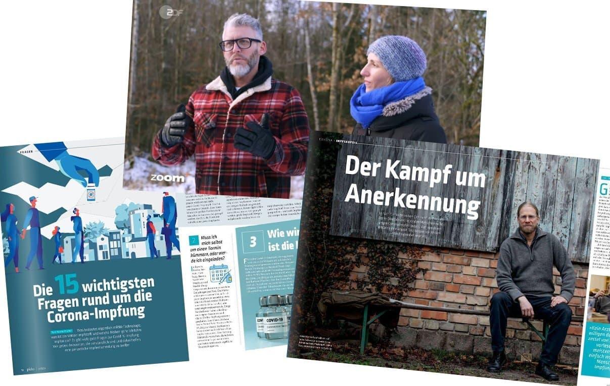 """Zwei Doppelseiten aus dem Magazin """"Pieks"""" und ein Bild aus der Dokumentation: ein Mann mit grauem Vollbart und Brille in Holzfällerjacke und eine Frau mit blauer Mütze und blauem Schal."""