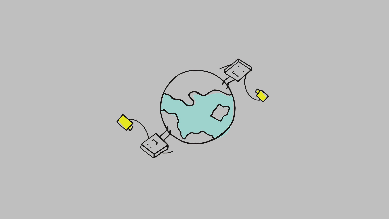 Symbolbild (Strichzeichnung): Zwei rechteckige Wesen stehen auf entgegengesetzten Seiten der Erde. Jedes von ihnen hält eine gelbe Videokamera in der Hand.