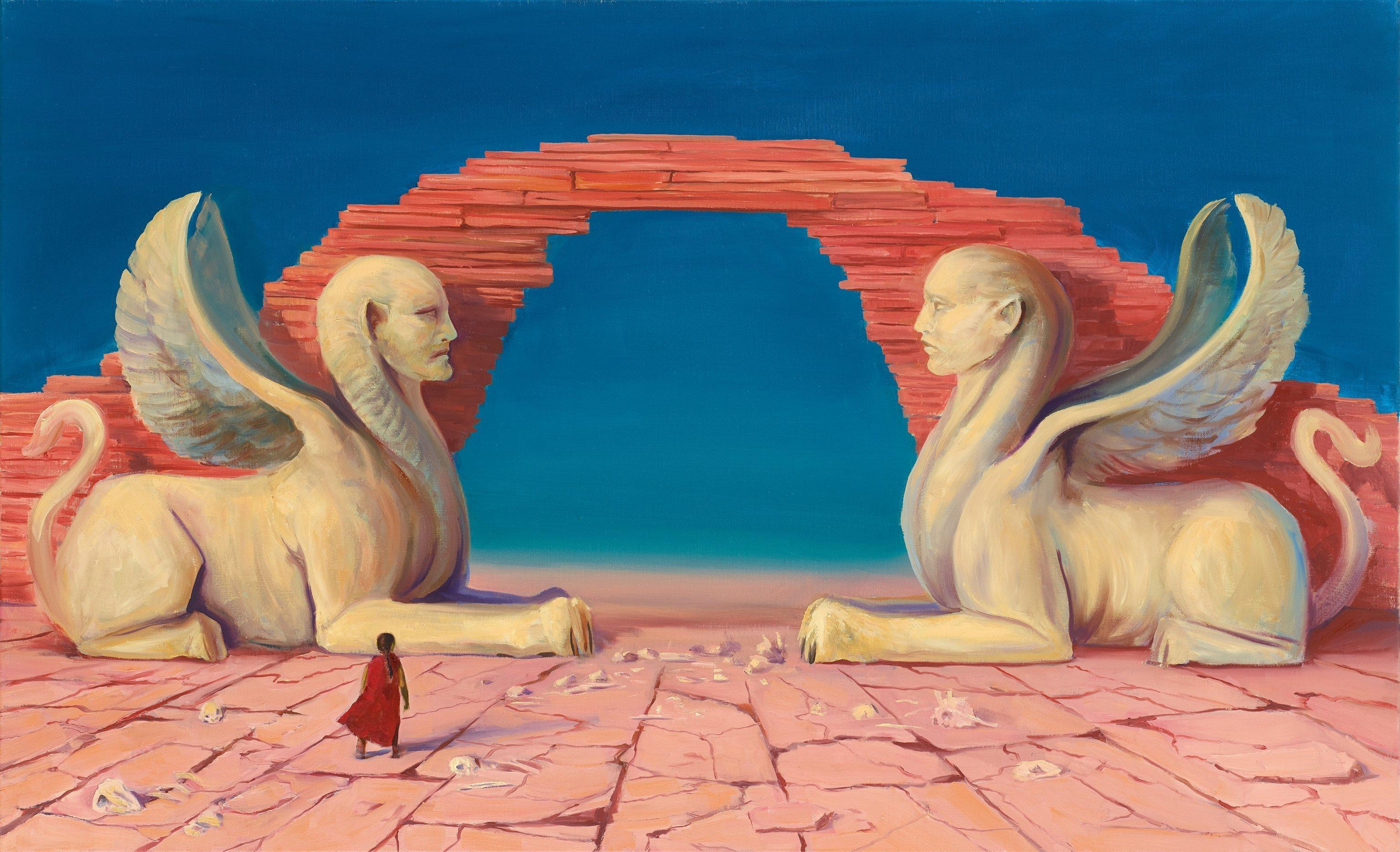 Zwei weiße Sphinxen (geflügelte Löwinnen mit Menschengesichtern) bewachen ein Tor aus übereinander liegenden Felsen. Sie sitzen sich gegenüber. Der Held Atreju muss zwischen ihnen durchgehen. Der Boden um ihn herum ist übersät mit Knochen.