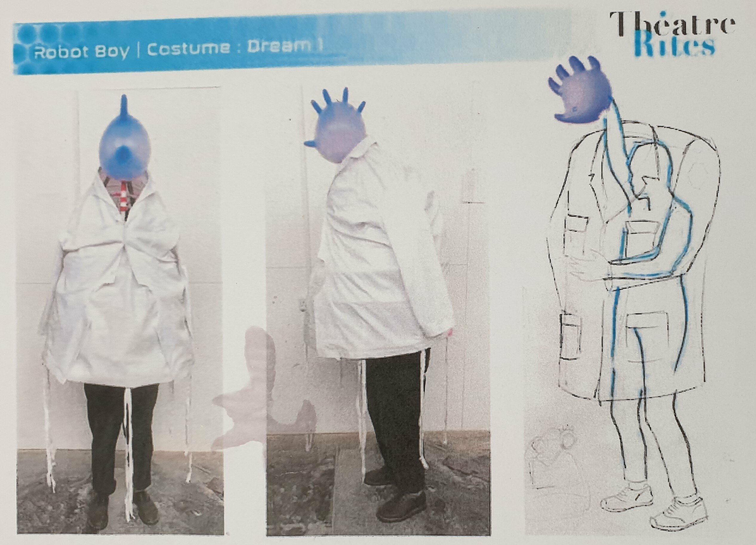 Links sieht man ein Foto von dem Kostüm. Rechts in der Zeichnung kann man erkennen, dass unter dem weißen Kittel des Kostüms jemand die Hand hoch strecken muss, um ganz weit oben den aufgeblasenen Labor-Handschuh zu halten. Wie ein Kopf schaut er oben aus dem Kittel. Von dem Schauspieler sieht man nichts mehr.