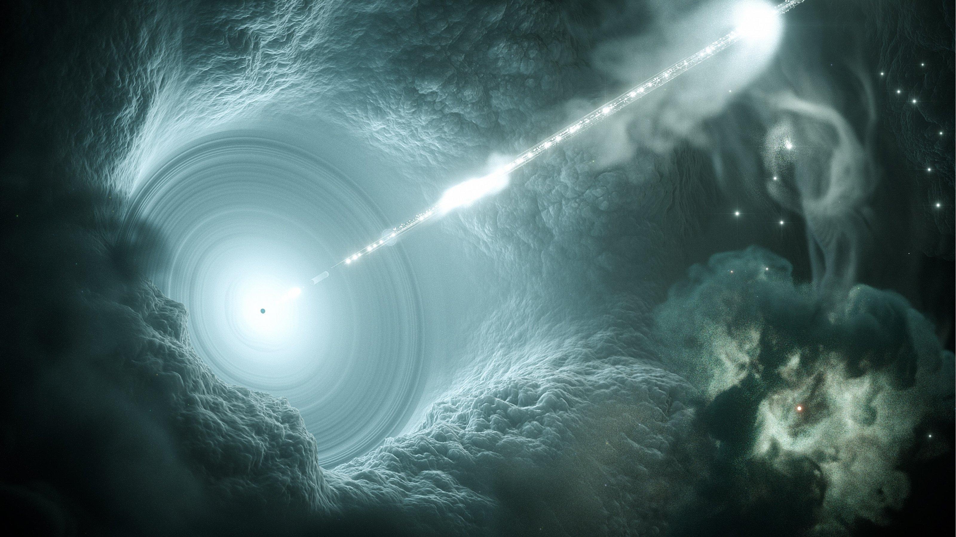 Künstlerische Darstellung einer aktiven Galaxie.