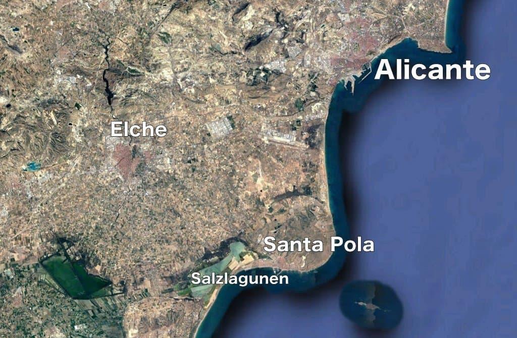 Landkarte Alicante und Elche.
