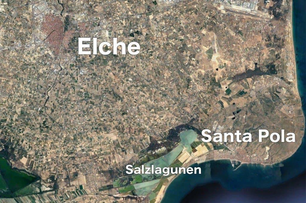 Landkarte auf der die Städte Elche und Santa Pola abgebildet sind.