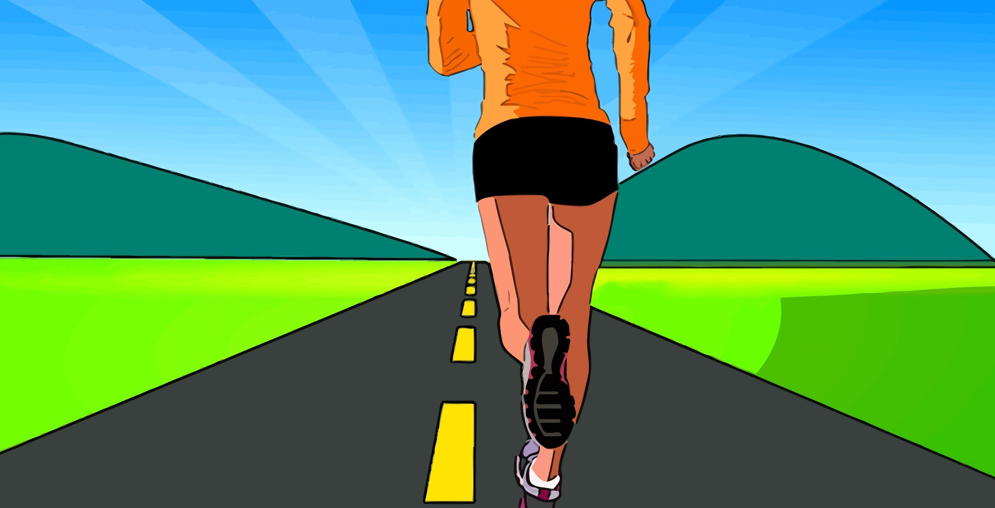 Grafik einer Frau, die auf einer Straße der Sonne entgegen joggt.