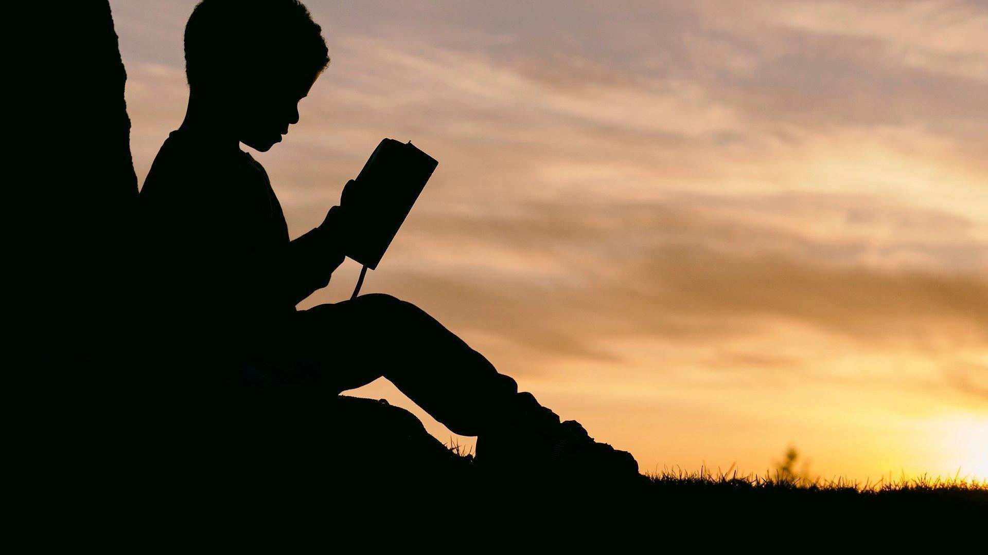 Ein Junge liest an einen Baustamm gelehnt, in der Abenddämmerung ein Buch.