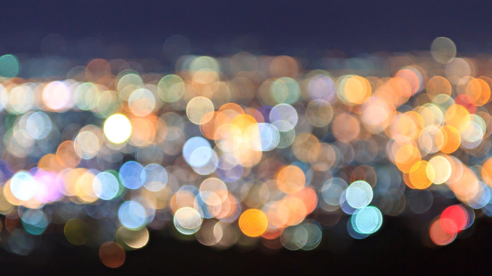 Abstrakte Lichtmuster, die Lichtverschmutzung symbolisieren sollen