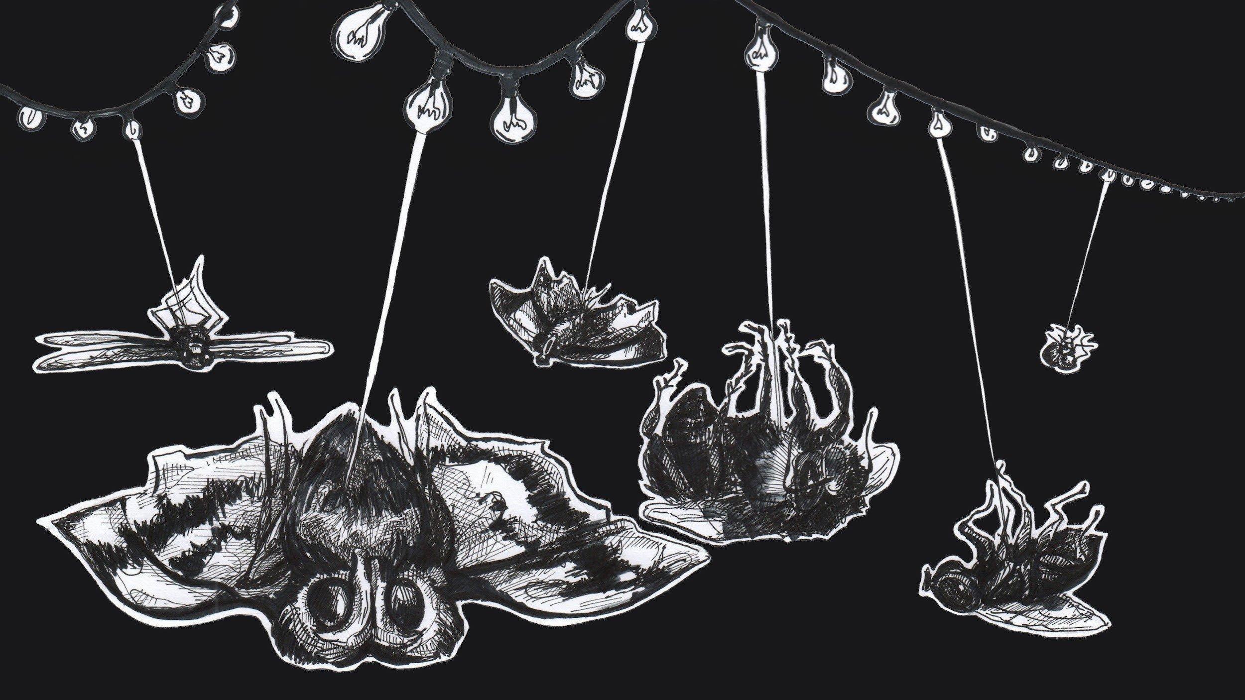 Die Illustration zeigt eine Lichterkette, die Lichtstrahlen aussendet und damit Insekten getötet hat, die auf dem Rücken am Boden liegen.