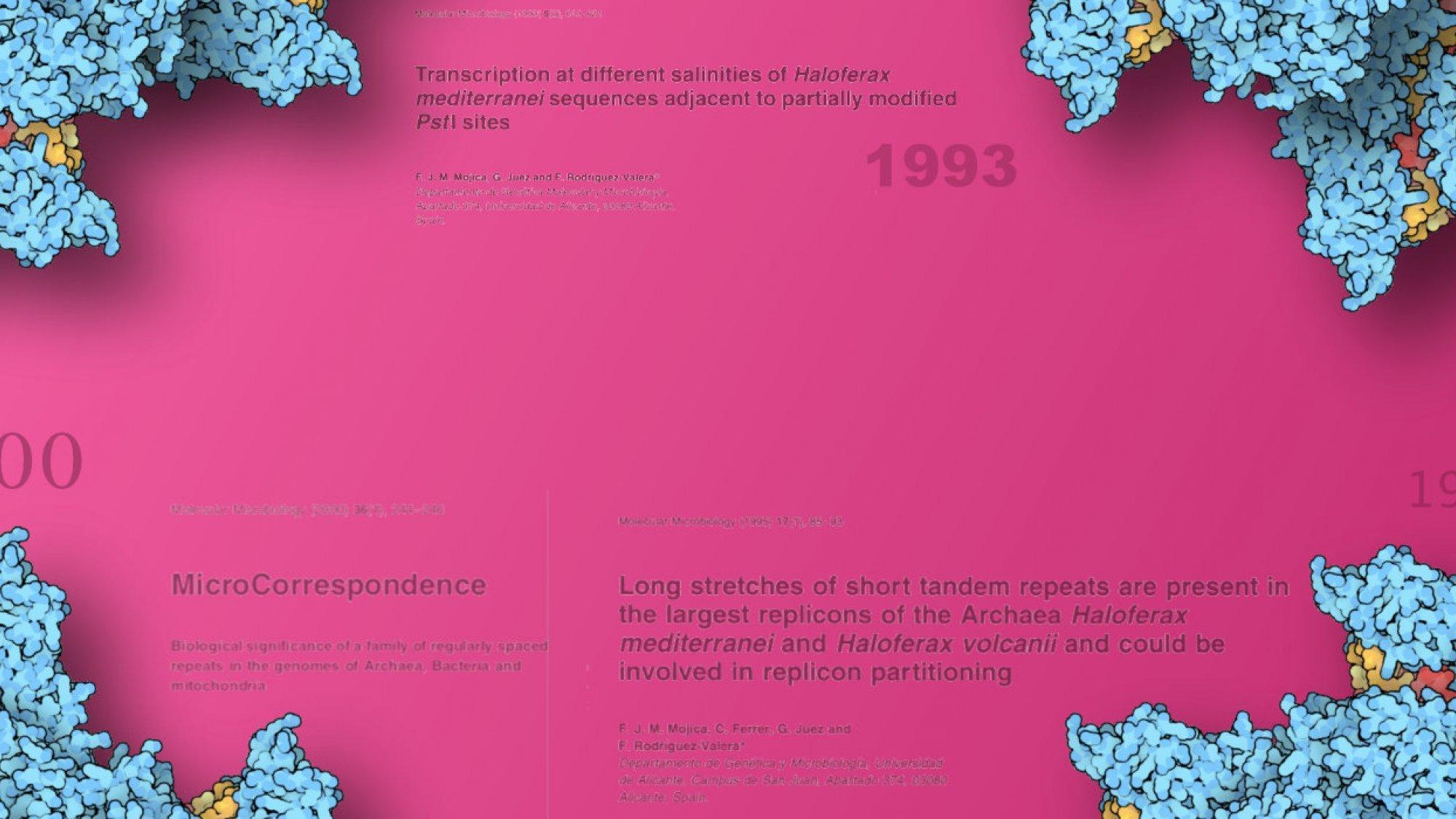 Blaue Cas9-Moleküle umkränzen den Titel dieses Artikels vor himbeerrotem Hintergrund in den die Titel wichtiger Fachartikel Mojicas eingeblendet sind.