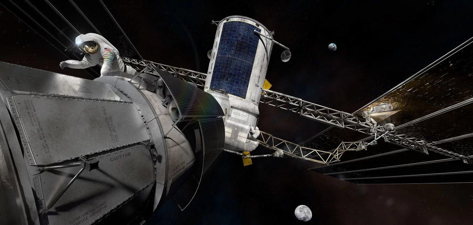 Die Grafik zeigt die geplante Raumstation im Mondorbit, das Lunar Orbital Platform-Gateway.