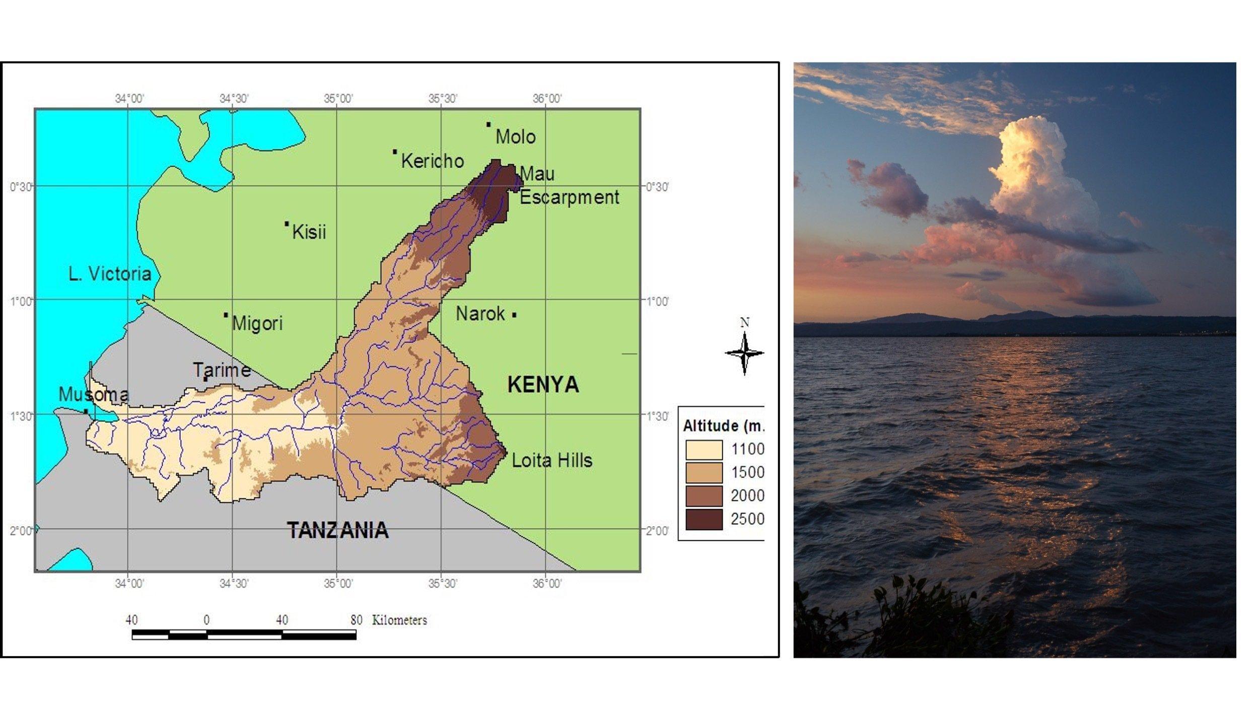 Links ist eine Karte zu sehen, mit Kenia imNorden und Tansania im Süden, dem Victoria-See im Westen. Die unterschiedlichen Höhen sind farblich wiedergegeben, mit dem Mau-Wald als höchstem Bereich in über 2500Metern Höhe. Im Zentrum ist das verzweigte Mau-Mara-Flusssystem gut zu erkenne.
