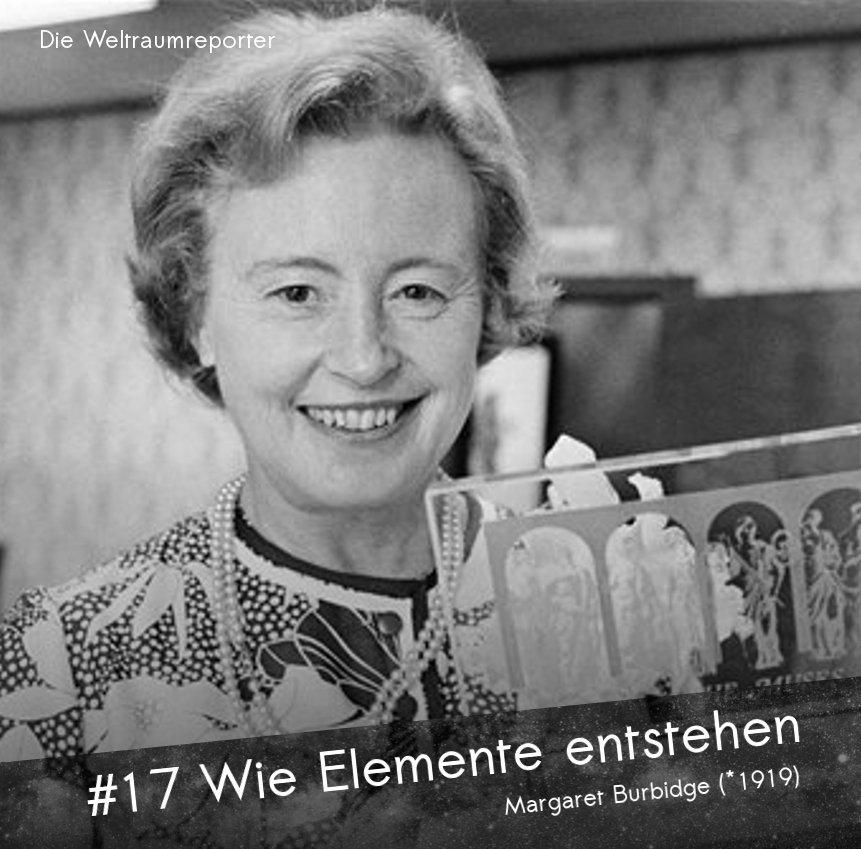 Eine Frau im mittleren Alt blickt lachend in die Kamera, hält in der Hand eine Preistrophäe aus Plexiglas: Margaret Burbidge, Wie Elemente entstehen