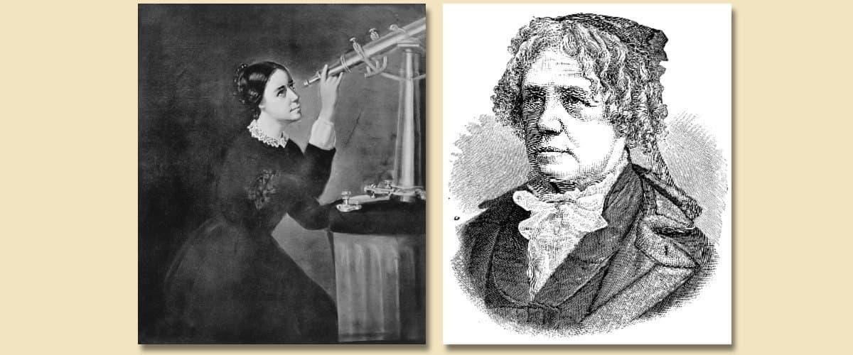 Zwei Aufnahmen der berühmten Astronomin Maria Mitchell, entstanden 1851und 1885.