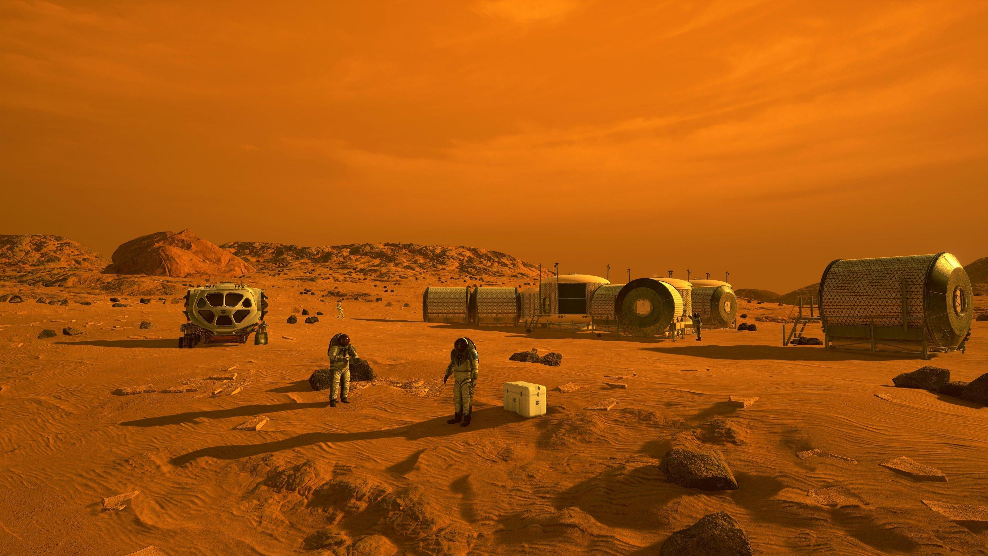 Auf dieser künstleriscehn Darstellung sind Menschen im Astronautenanzug und ein Habitate auf dem Mars zu sehen. Das gesamte Bild ist in rot-braunen Tönen gehalten.