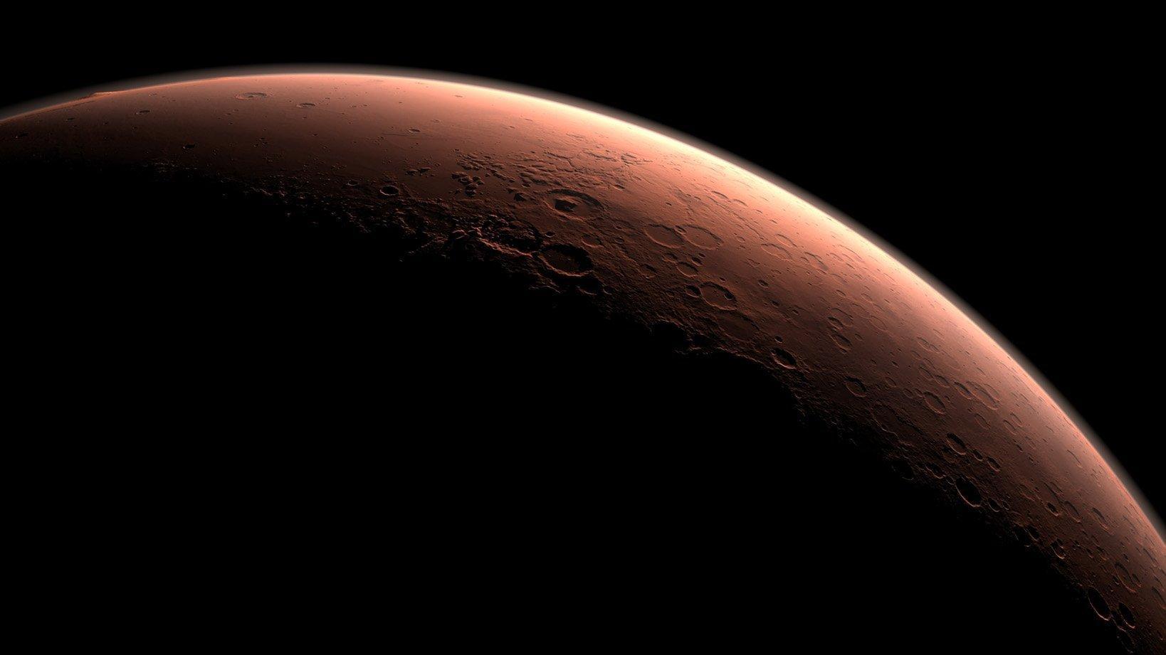 Grafik von Marssichel im Gegenlicht