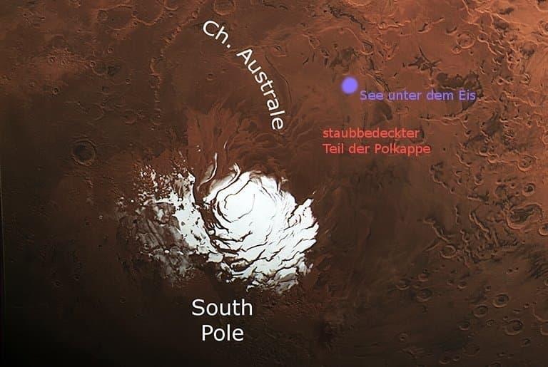 Südpolkappe des Mars, mit markierter Postion des jetzt entdeckten Sees unter dem Eis