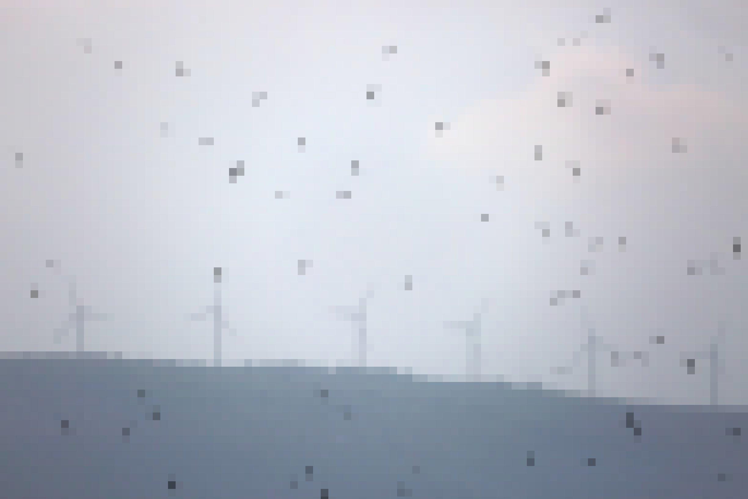 Windräder, davor fliegen kleine schwarze Vögel umher.