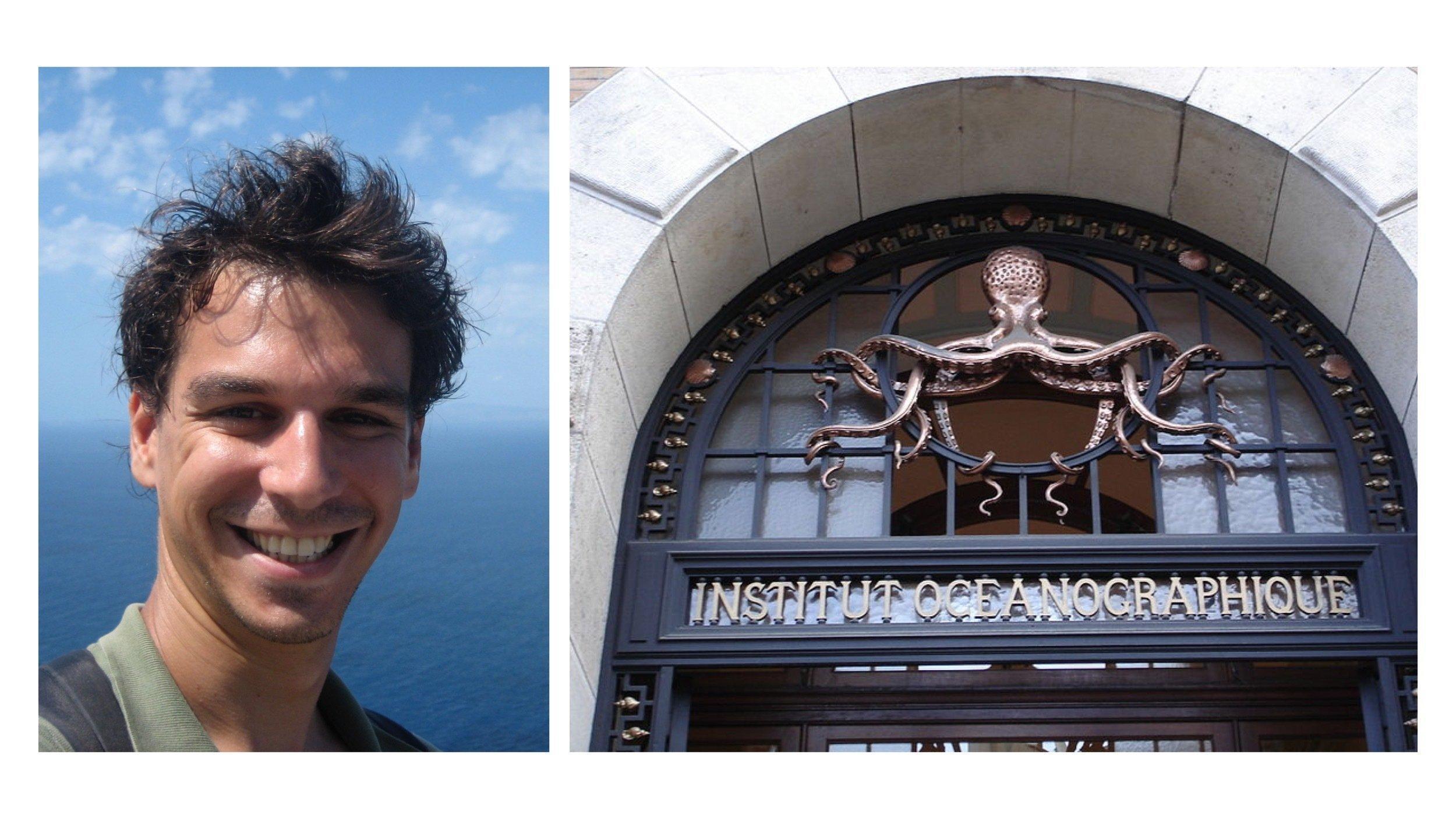 """Das Foto zeigt den französischen Meeresbiologen Joachim Claudet sowie das ehrwürdige """"Institut Océanographique"""" in Paris – seit über 100Jahren wacht ein Riesenkrake über das Eingangstor"""