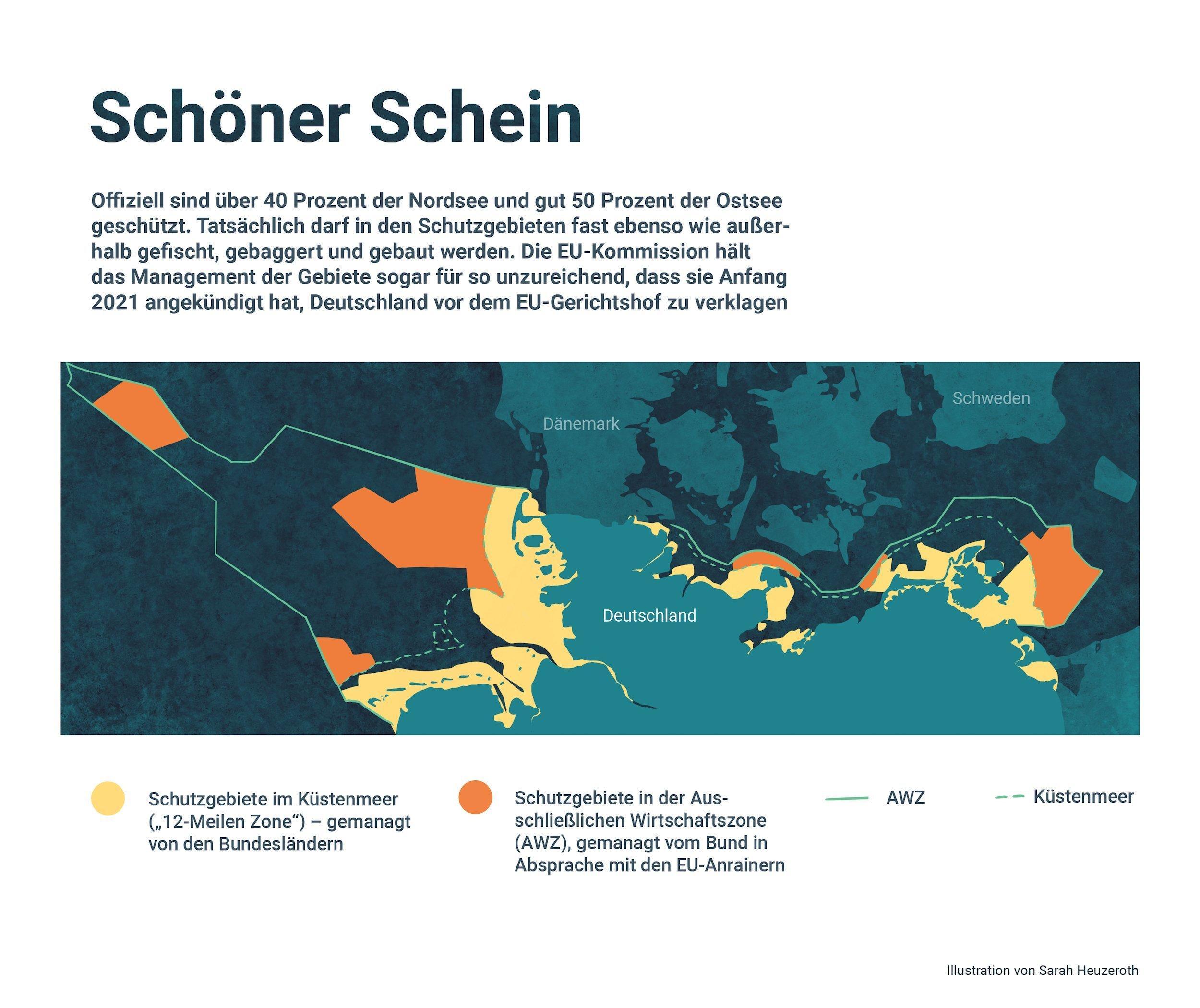 Darstellung der deutschen Meeresschutzgebiete auf einer Landkarte