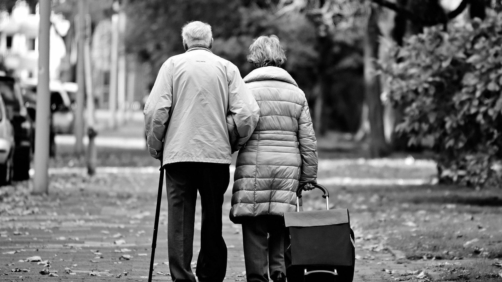 Ein altes Paar geht zusammen durch den Park. Man sieht den Mann und die Frau von hinten, sie zieht einen Einkaufswagen hinter sich her.
