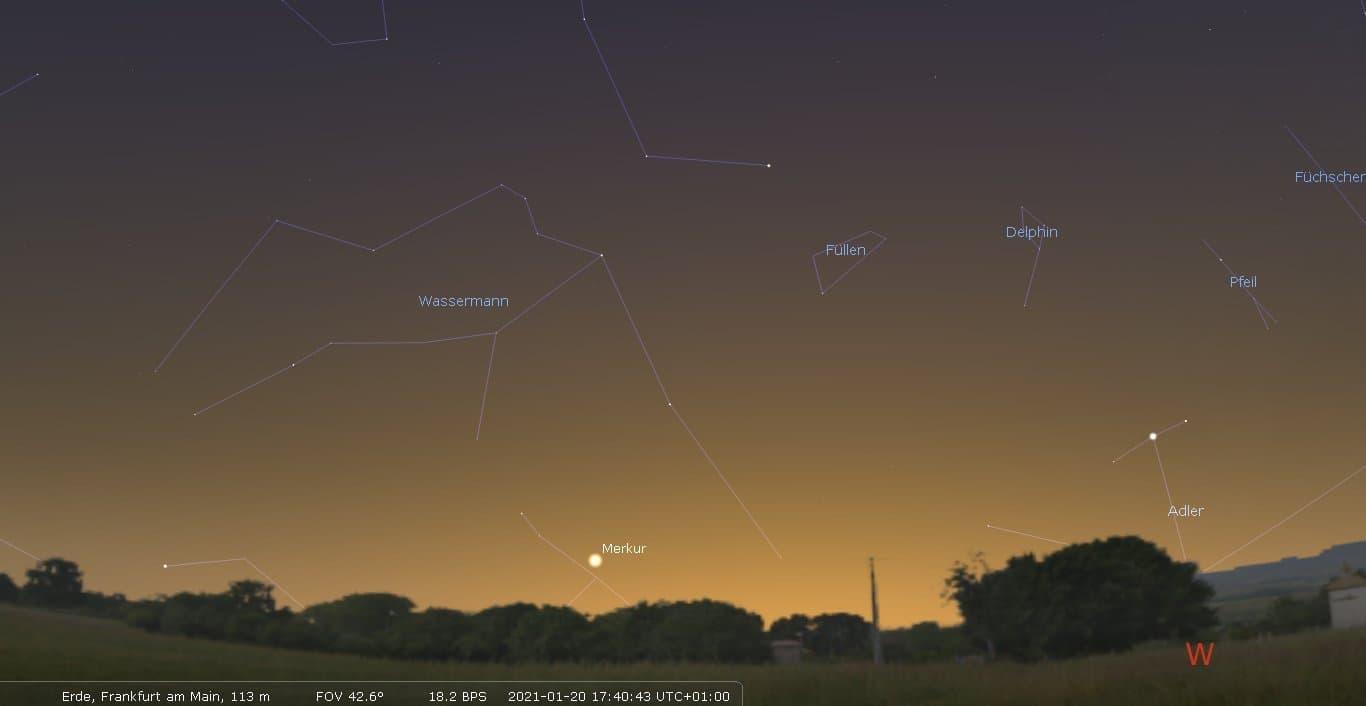 Die Position von Merkur über dem Südwesthorizont für den 20. Januar um 17:40Uhr bei Frankfurt am Main.
