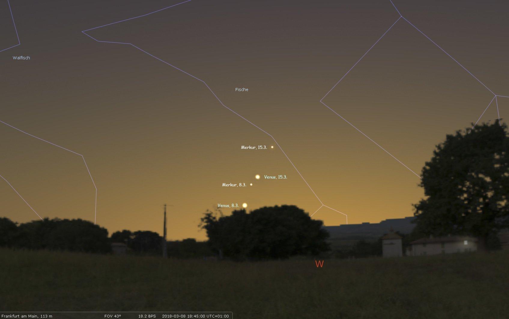 Der scheue Planet Merkur und die helle Venus am Abendhimmel im März 2018.