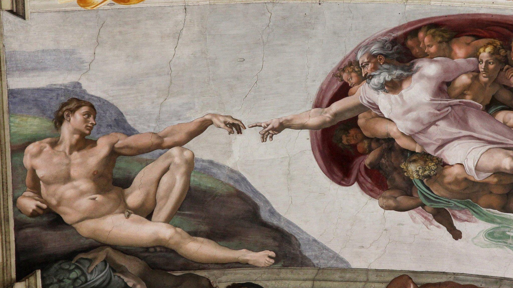 Das Bild zeigt auf der linken Seite den nackten Adam. Lässig liegend, ein Knie angewinkelt und den linken Arm Richtung Bildmitte ausgestreckt. Auf der rechten Seite oben schwebt Gottvater in weißem Gewand, umgeben von kindlichen Engeln, und streckt seinen rechten Arm ich Richtung Adam aus, bis sich beider Zeigefinger fasst berühren. So stellte sich Michelangelo in seinem berühmten Gemälde in der Sixtinischen Kapelle in Rom vor, wie Gott Adam zum Leben erweckte.