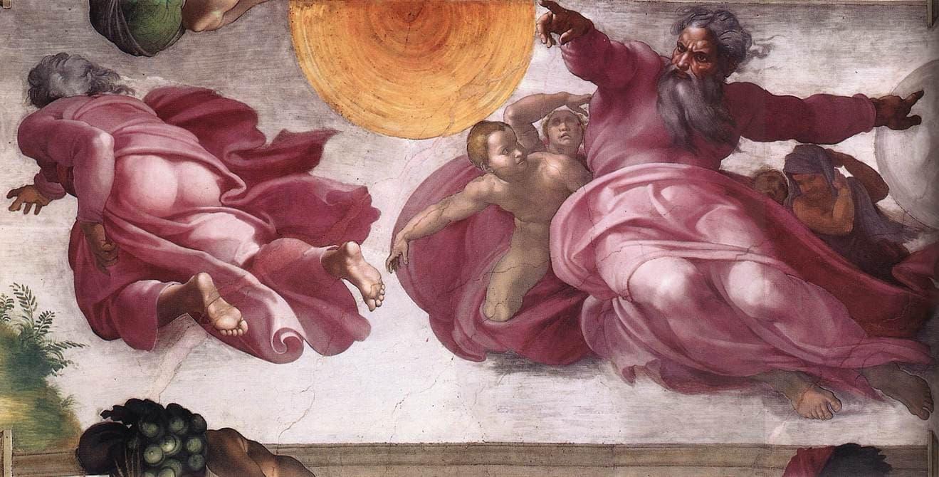Das Foto zeigt ein weiteres Gemälde von Michelangelo in der Sixtinischen Kapelle. Gott ist auf der rechten Seite mit Rauschebart und in ein rotes Gewand gekleidet zu sehen, wie er mit dem rechten ausgestreckten Arm die Sonne und mit dem linken ausgestreckten Arm den Mond erschafft. Auf der linken Seite sieht man den Allmächtigen von hinten – mit nacktem Gesäß – wie er offenbar davonschwebt, unter sich die gerade geschaffenen Pflanzen.
