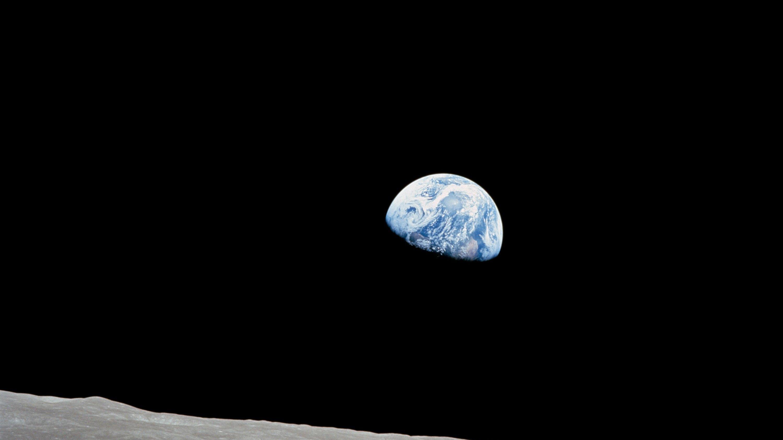 Die Erde gesehen vom Mond, fotografiert von den Apollo-8Astronauten.