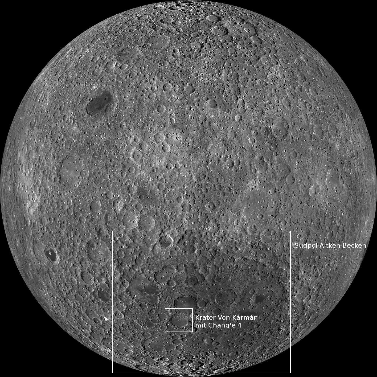 Auf der Mondrückseite liegt das Südpol-Aitken-Becken und darin der Krater Von Kármán