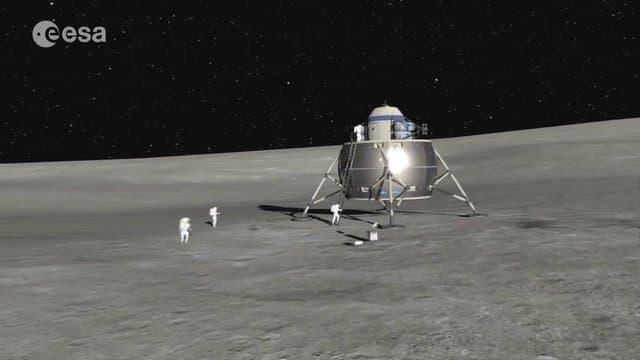 Lander und Astronauten auf dem Mond