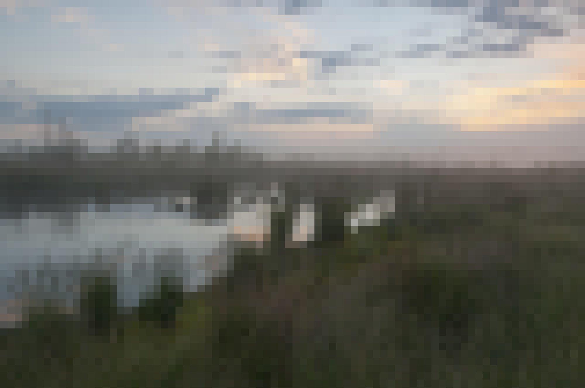 Moorlandschaft mit Tümpel im Nebel