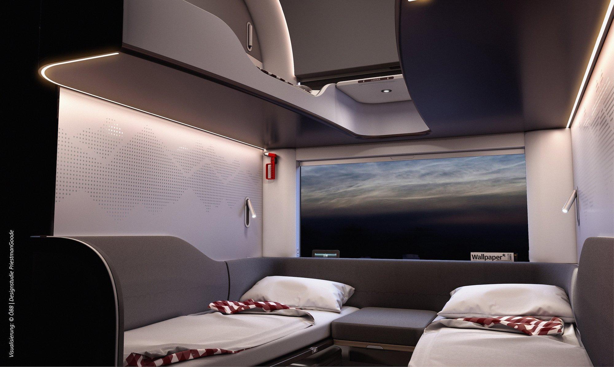 Ein modernes Schlafabteil in einem Zug mit vier Betten. Zwei auf normaler Höhe, zwei weiter oben an der Wand befestigt. Alles ist in eher schlichten Grautönen gehalten.