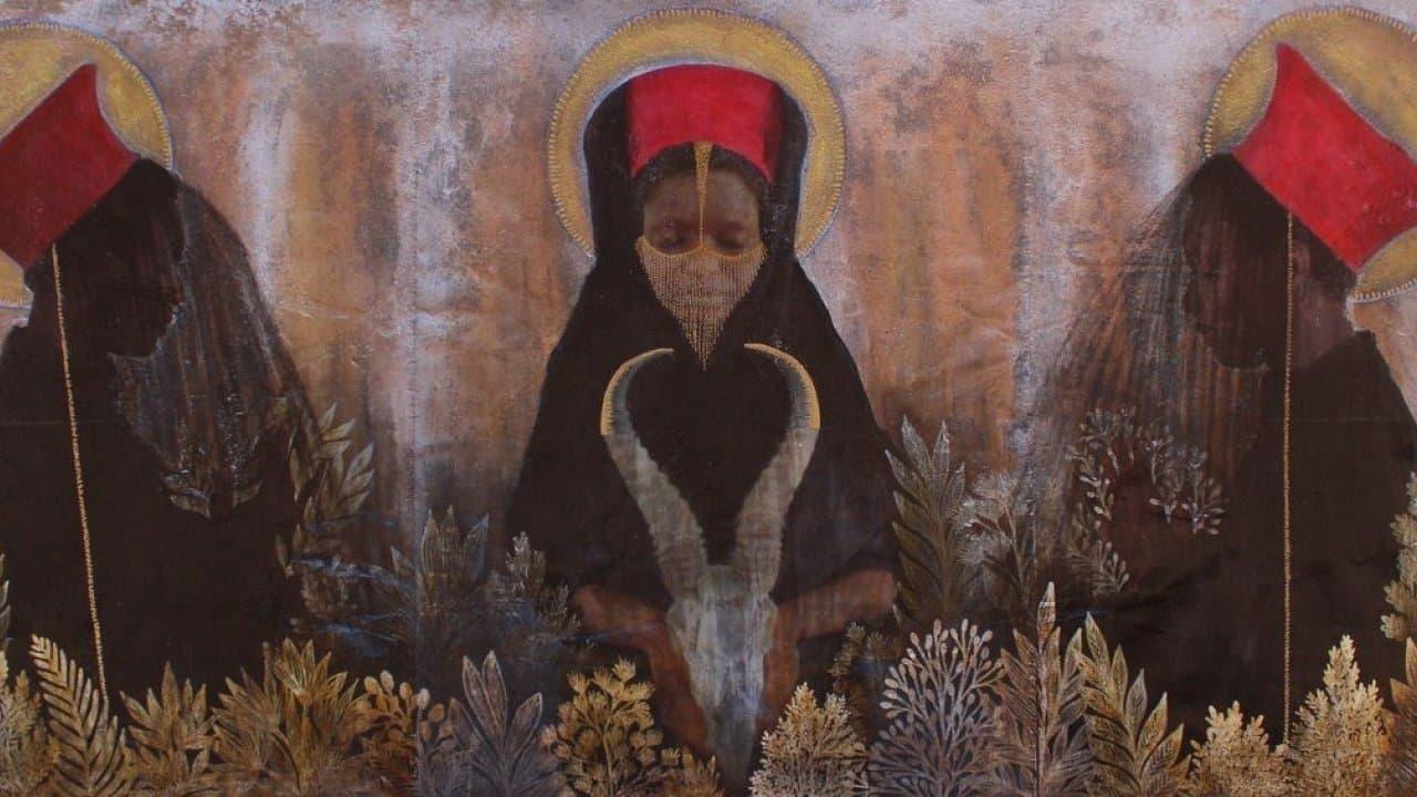 """""""Limbadungila"""" von Tuli Mekondjo zeigt eine Frau mit rotem Hut, die einen Tierschädel hält, neben ihr zwei weitere Frauenfiguren"""
