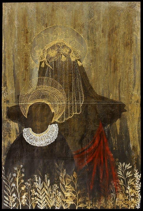 Das Bild von Tuli Mekondjo zeigt eine Mutter mit Kind, das ein wenig an ein Madonnenbild erinnert
