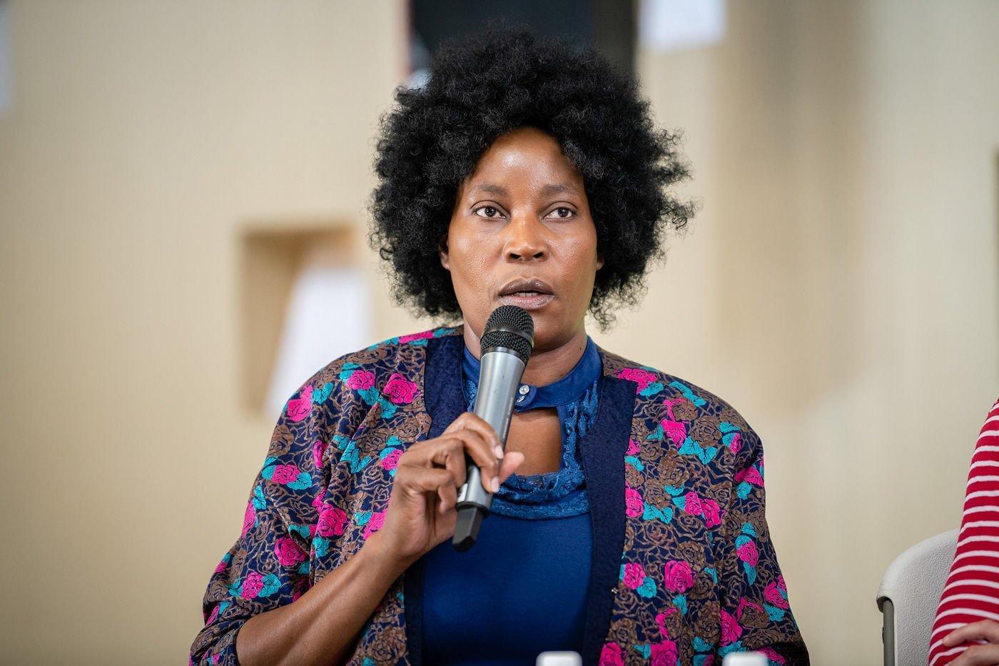 Nzila Marina Mubusisi bei ihrem Vortrag im Rahmen der Museumsgespräche