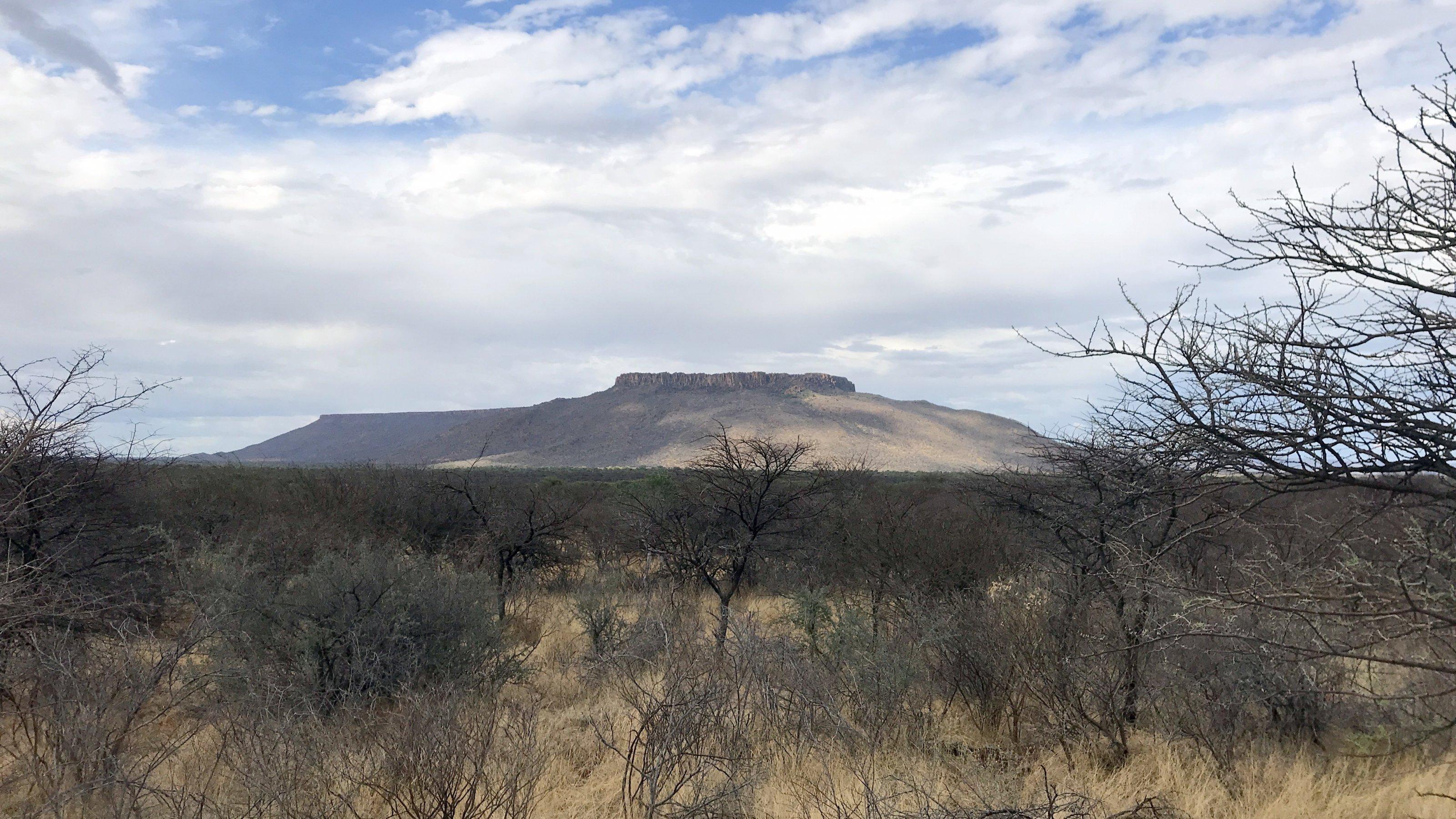 Aus der kargen Landschaft ragt ein Berg mit großem Plateau, der Waterberg