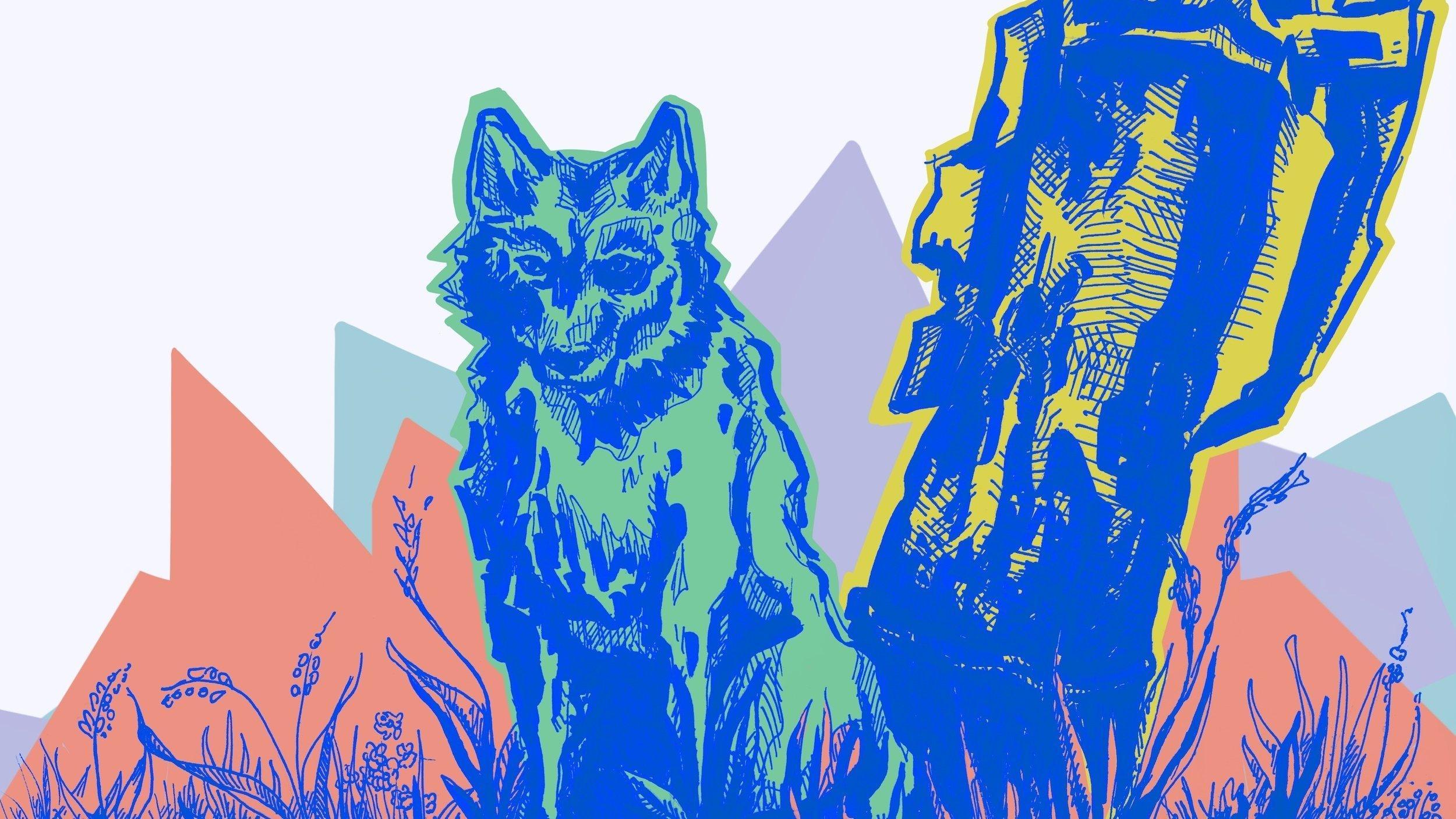 Die Illustration zeigt einen Wolf, der neben einem abgebrochenen Baumstamm sitzt und den Betrachter anschaut.