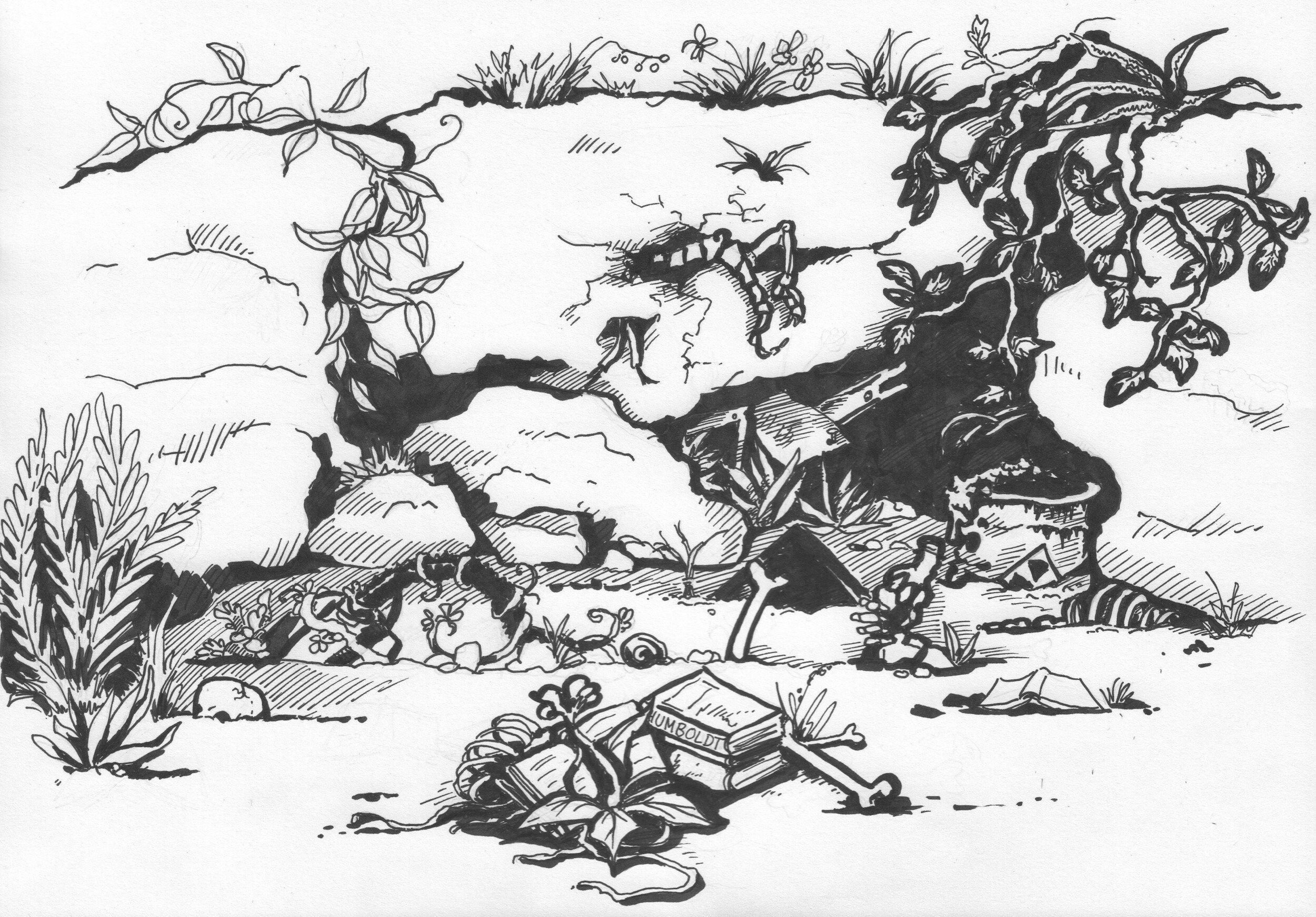 Die Illustration zeigt eine fiktive Ausgrabungsstätte der Zukunft, aus der Artefakte der Moderne herausragen, darunter radioaktiver Müll und ein Buch von Alexander von Humboldt, das die Zeit überstanden hat.