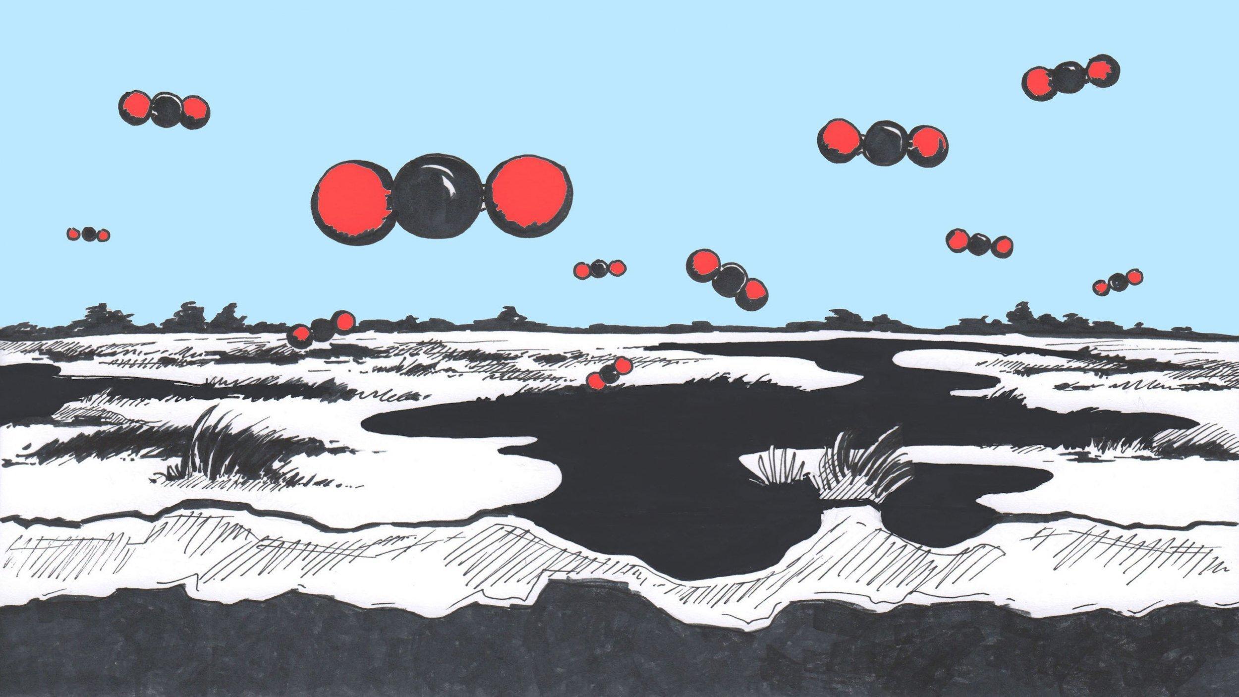 Die Illustration zeigt eine Moorlandschaft in schwarz, darüber schweben wie Raumschiffe Kohlendioxid-Moleküle, die übergroß im Kugelmodell von Atomen gezeichnet sind.