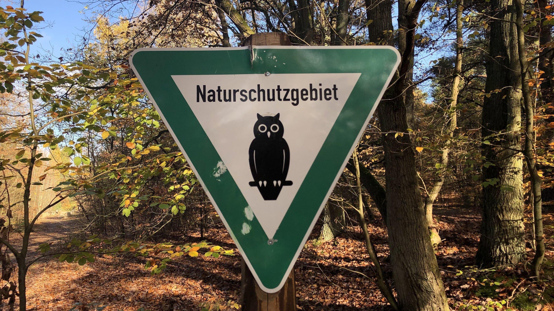 Schild eines Naturschutzgebietes in Berlin mit Eule vor Herbstwald