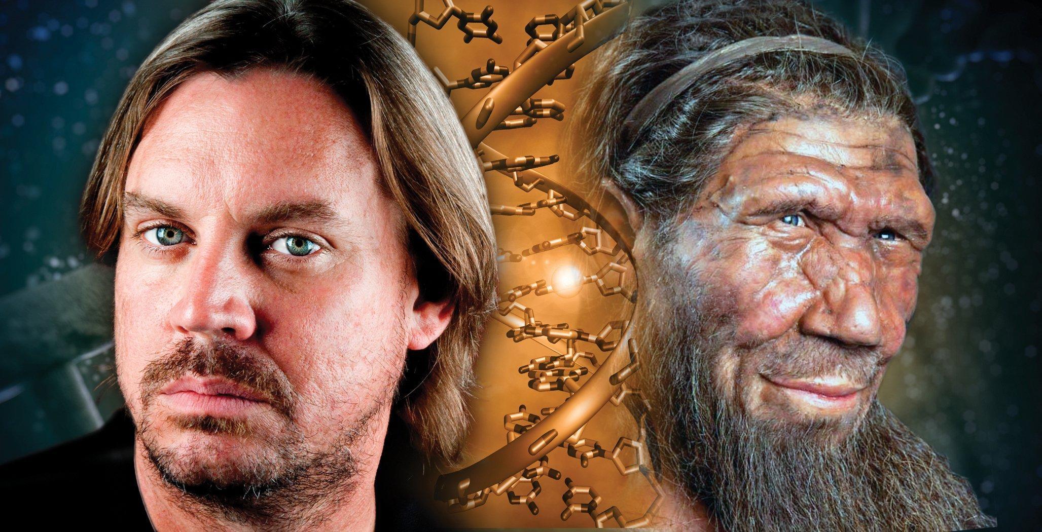 Zu sehen ist eine Collage, die links den Kopf eines Europäers, in der Mitte das Modell der Erbsubstanz DNA und rechts das Haupt eines Neandertalers zeigt. Die künstlerische Darstellung soll die Erkenntnisse des Forschers Tony Capra von der Vanderbilt University in Nashville, Tennessee, symbolisieren. Nach dessen Analysen beeinflussen Neandertaler-Gene bei heutigen Europäern die Neigung zu Depressionen, das Suchtverhalten und den Stoffwechsel.