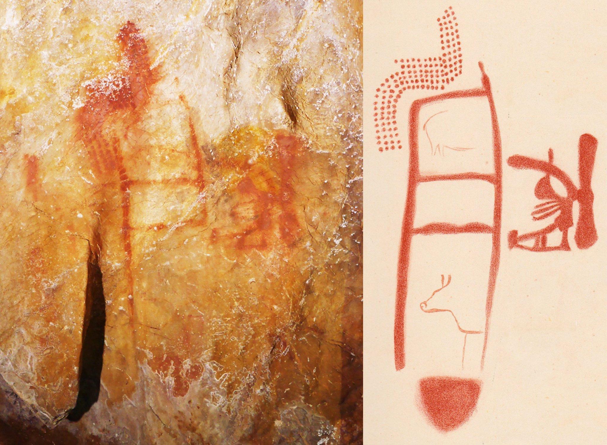 Das Foto zeigt Zeichnunngen, die Urzeit-Künstler auf den Felswänden der Höhle La Pasiega im Nordosten Spaniens hinterließen. Zu erkennen sind leiterartige Gebilde, die mindestens 64.000Jahre alt sind und von Neandertalern stammen müssen. Ob auch die weiteren Figuren dort an der Wand von Neandertalern stammen oder jüngeren Datums sind, ist noch nicht bekannt.