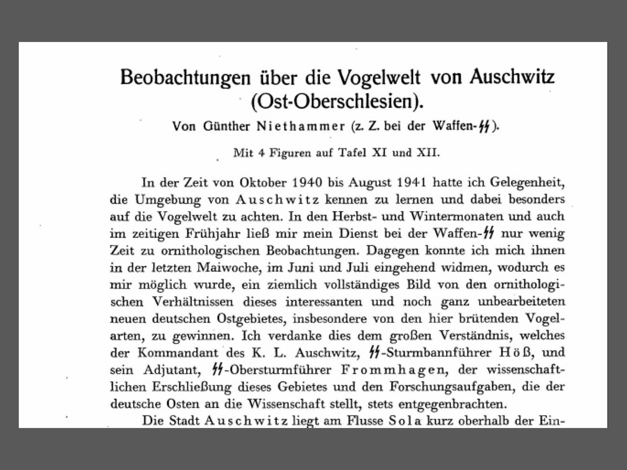 """Ausschnitt aus einem Buch. Titel: """"Beobachtungen über die Vogelwelt von Auschwitz"""""""