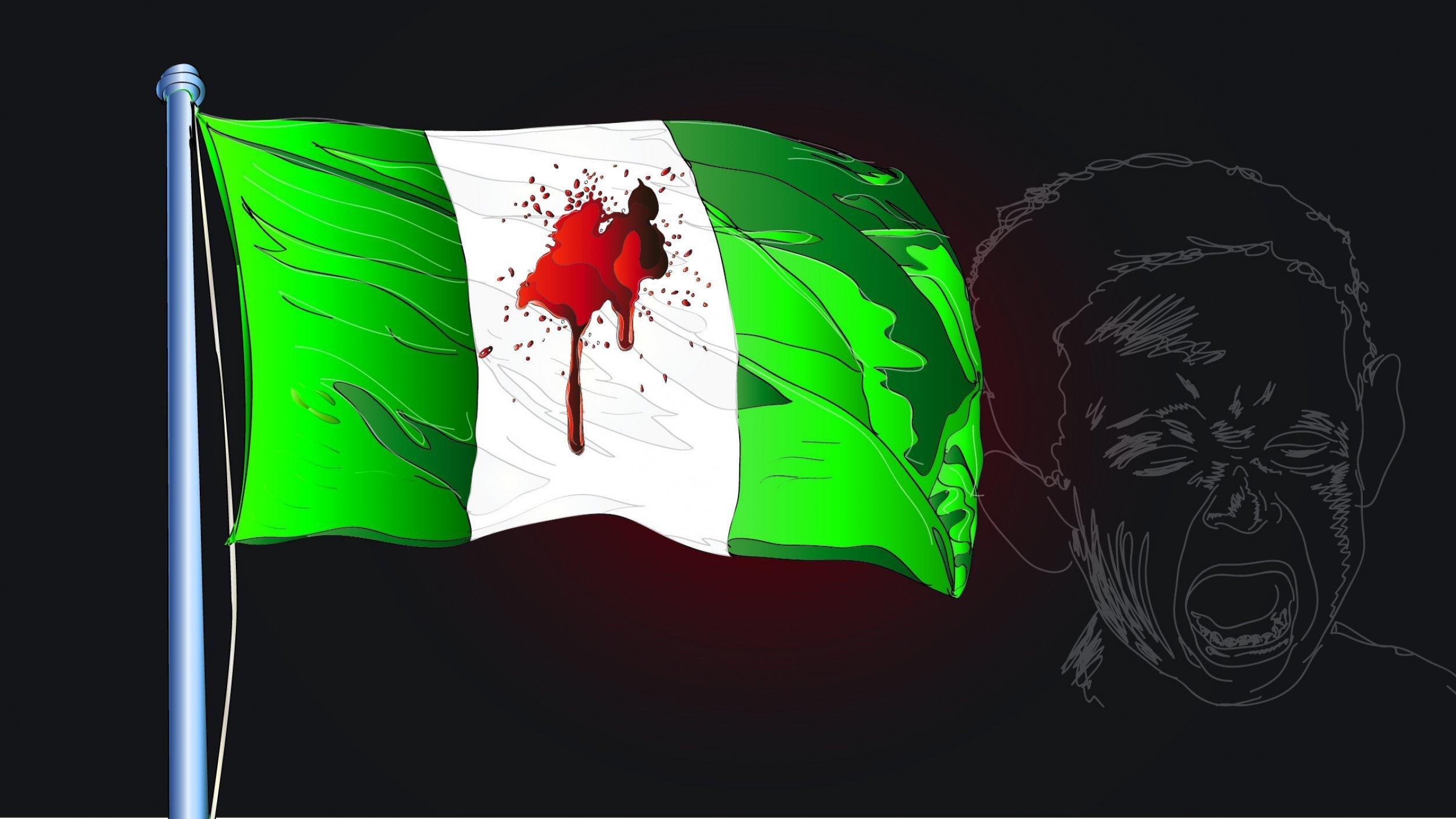 Das gezeichnete Bild zeigt eine Flagge von Nigeria mit Blutspritzern und das weinende Gesicht eines Kindes