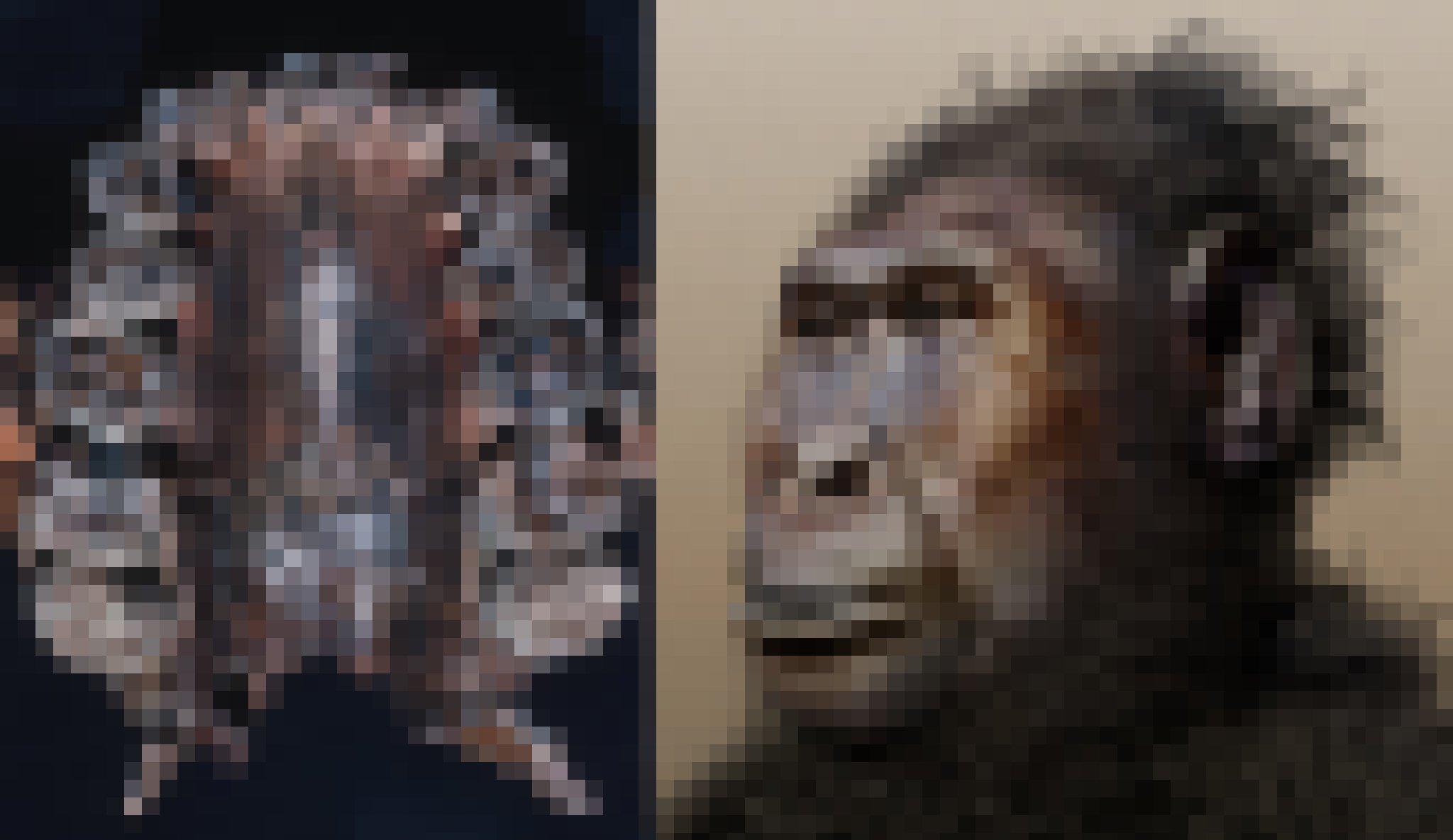 Im linken Foto zu sehen ist ein fossiler Oberkiefer (von unten gezeigt), mit extrem großen Backenzähnen. Rechts findet sich die Zeichnung eines Wesens, das mit schwarzen Haaren, dunkler Gesichtsfarbe, platter Nase und der sehr großen Mundpartie wie eine Mischung zwischen Gorilla und Mensch wirkt.