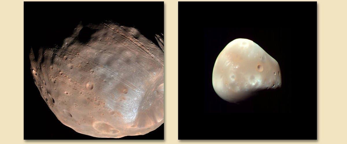 Die beiden Marsmonde Phobos & Deimos sind kleine eingefangene Begleiter des roten Planeten, die auf engen Bahnen um ihn kreisen und in nicht allzu ferner Zukunft auf ihm einschlagen werden.