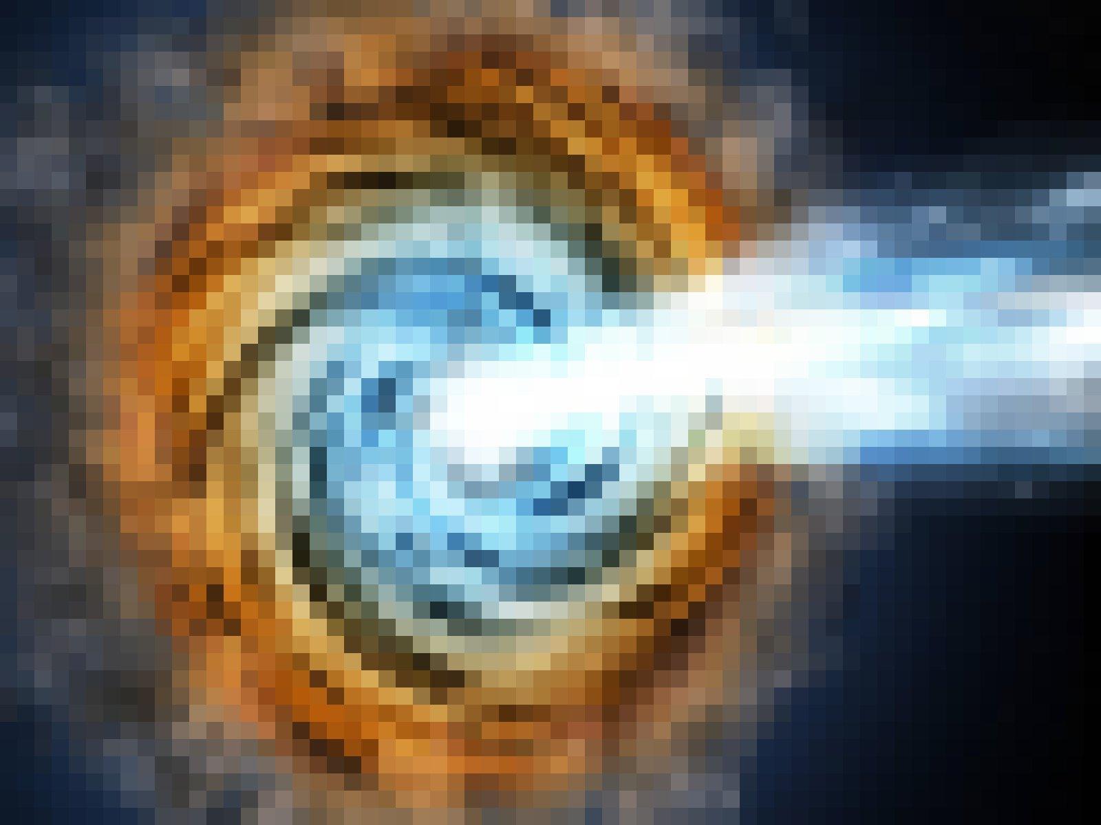"""Illustration eines """"Blazars"""" – eines aktiven supermassiven Schwarzen Loches, dessen Strahlen in Richtung Erde leuchten und der deshalb besonders hell erscheint"""