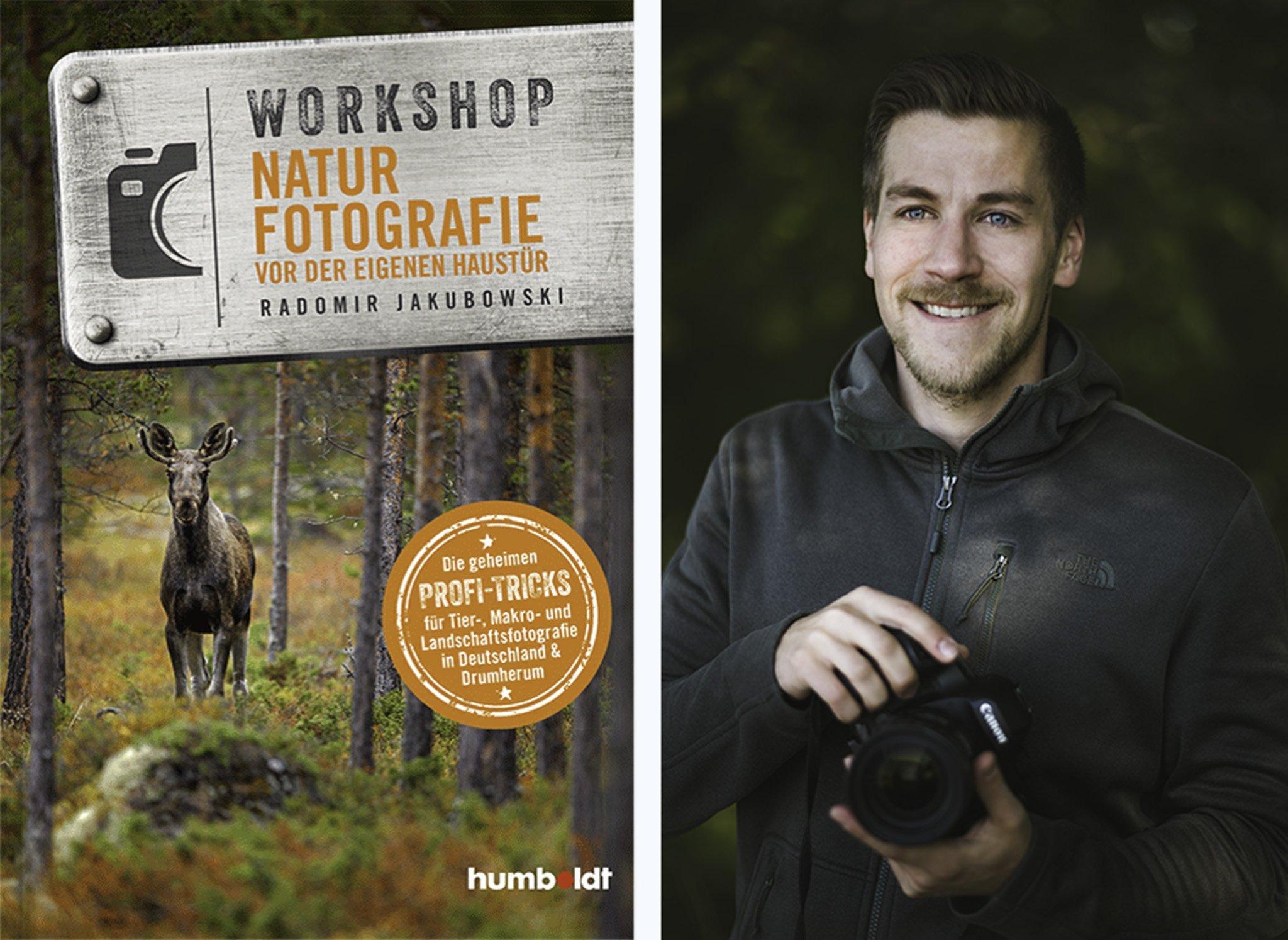 Linke Seite: Das Cover des Buches. Rechte Seite: Der Autor im Wald mit einer Kamera in der Hand.
